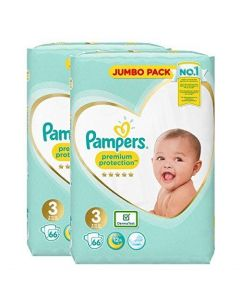 Pampers Size 3 Nappy (2 x 66 Pack)